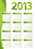 Calendar for 2013. With green theme. Week starts with Monday. Proxima Nova font used vector illustration