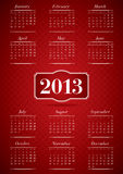 Calendar for 2013. In elegant style with red theme. Week starts on Monday. Bauer Bodoni font used royalty free illustration