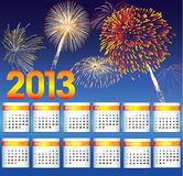 Calendar of 2013. New Years 2013. Calendar of 2013 Stock Image