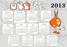 Calendar 2013. With hand drawn elements week starts at sunday royalty free illustration