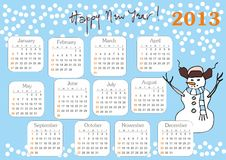 Calendar 2013. With hand drawn Snowman week starts at sunday royalty free illustration