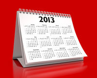 Calendar 2013. 3D desktop calendar 2013 in red background Stock Photo
