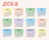 Calendar 2013. Joyful calendar 2013 on ribbed  background week starts at sunday Royalty Free Stock Photo