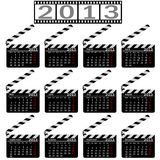 Calendar for 2013. Movie clapper board. Vector Illustration Stock Image