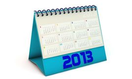 Calendar 2013 in 3d in spanish. Blue Calendar 2013 in 3d on white background in spanish Stock Images