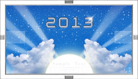 Calendar 2013 blue sky and cloud. For Your text Newyear,Success,hope Royalty Free Stock Image