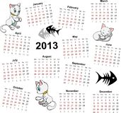 Calendar 2013 with cats. Calendar with all weeks, days and months with marked weekend Stock Photo