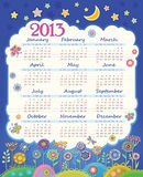 Calendar for 2013. Cloud in the night sky. Childre. N applique flowers. Week starts on Sunday royalty free illustration