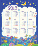 Calendar for 2013. Cloud in the night sky. Childre. N applique flowers. Week starts on Monday royalty free illustration