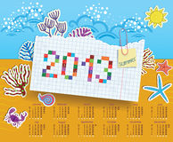 Calendar for 2013. Collage of stickers. Calendar for 2013. Summer theme. Collage of stickers Stock Image