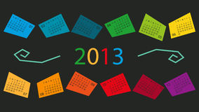 Calendar 2013 in Color Boxes Stock Photos