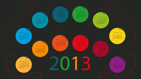 Calendar 2013 in Color Circles Royalty Free Stock Photography