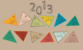 Calendar 2013 in Colored Triangles Stock Photography