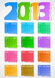 Calendar 2013 colorful torn paper. Vector illustration Stock Images