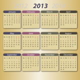 Calendar 2013, english royalty free illustration