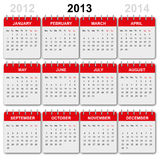 Calendar 2013, english. Colorful calendar 2013, english version stock illustration