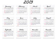 Calendar 2013 in English (vector). Calendar for 2013 in English; week starts with Sunday (vector Royalty Free Stock Photos