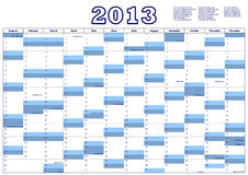 Calendar for 2013 with federal holidays U.S.A. Royalty Free Stock Photography