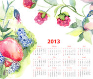 Calendar for 2013 with flowers and berries. Watercolor painting royalty free illustration