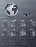 Calendar for 2013 with globe. On a brushed metal texture. Sundays first. Vector illustration Royalty Free Stock Photos