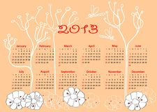Calendar 2013 horizontal. Calendar 2013 template with hand drawn elements week starts at sunday royalty free illustration