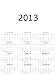Calendar 2013 with moon phases Stock Photos