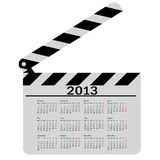 Calendar for 2013,  movie clapper board. Vector Illustration Royalty Free Stock Photos