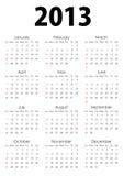 Calendar_2013 pieno illustrazione di stock