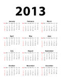 Calendar 2013 portrait. Calendar of 2013 isolated on white background Royalty Free Stock Photo