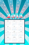Calendar 2013 with rays and stars. Vector. Editable royalty free illustration