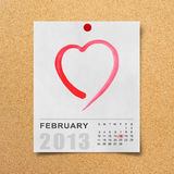 Calendar 2013 and red heart on note paper. Royalty Free Stock Photography
