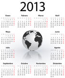 Calendar for 2013 in Spanish with globe. Calendar for 2013 year in Spanish with the world globe. Mondays first. Vector illustration Royalty Free Stock Photo