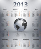 Calendar for 2013 in Spanish with globe. Calendar for 2013 year in Spanish with the world globe in spotlights. Mondays first. Vector illustration vector illustration