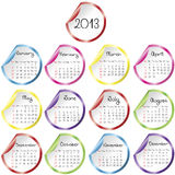 Calendar for 2013 with stickers Stock Photography