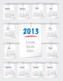 Calendar for 2013 on sticky notes. Calendar for 2013 year on sticky notes attached to the background with paper clips. Sundays first. Vector illustration Royalty Free Stock Photos