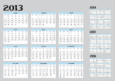 Calendar of 2013 to 2016. New Calendar of 2013-22014-2015-2016 in spanish Royalty Free Illustration