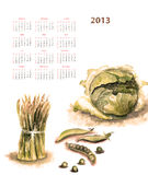 Calendar for 2013 with vegetable. Watercolor illustration Stock Photo
