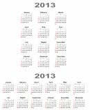 Calendar 2013 vertical and horizontal Stock Photo