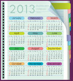 Calendar for 2013. Week starts on Sunday. Diary from the colored tabs. Sheet in the lineup vector illustration