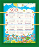 Calendar for 2013. The week starts with Sunday. Su. Nny day at the flower meadow. Little funny snake royalty free illustration
