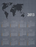 Calendar 2013 world map linen texture. Stylish calendar 2013 world map linen texture. Sundays first. Vector illustration Royalty Free Stock Photography