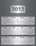 Calendar for 2013 year. With attached metallic tablets. Vector illustration stock illustration