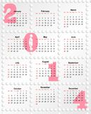 Calendar for 2014 with holes Royalty Free Stock Photos