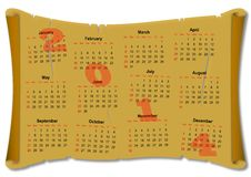 Calendar for 2014 on the parchment paper Stock Images