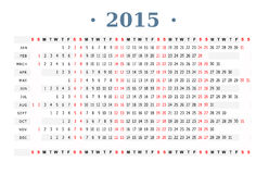 Calendar 2015 print Royalty Free Stock Photo