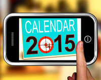 Calendar 2015 On Smartphone Showing Future Plans. And Goals stock illustration