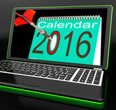 Calendar 2016 On Laptop Showing Future Websites. And Online Calendars Stock Photo