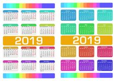 Calendar 2019. Colorful Set. Week Starts On Sunday. Stock Photo