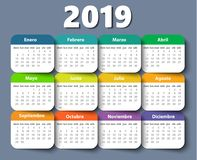 Free Calendar 2019 Year Vector Design Template In Spanish. Royalty Free Stock Photos - 124703178