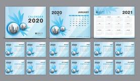 Free Calendar 2020-2021, Set Desk Calendar 2020 Template Vector, Cover Design, Set Of 12 Months, Week Starts Sunday, Stationery Stock Photos - 159881283
